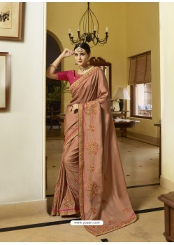 Beige Mesmeric Designer Traditional Wear Silk Sari