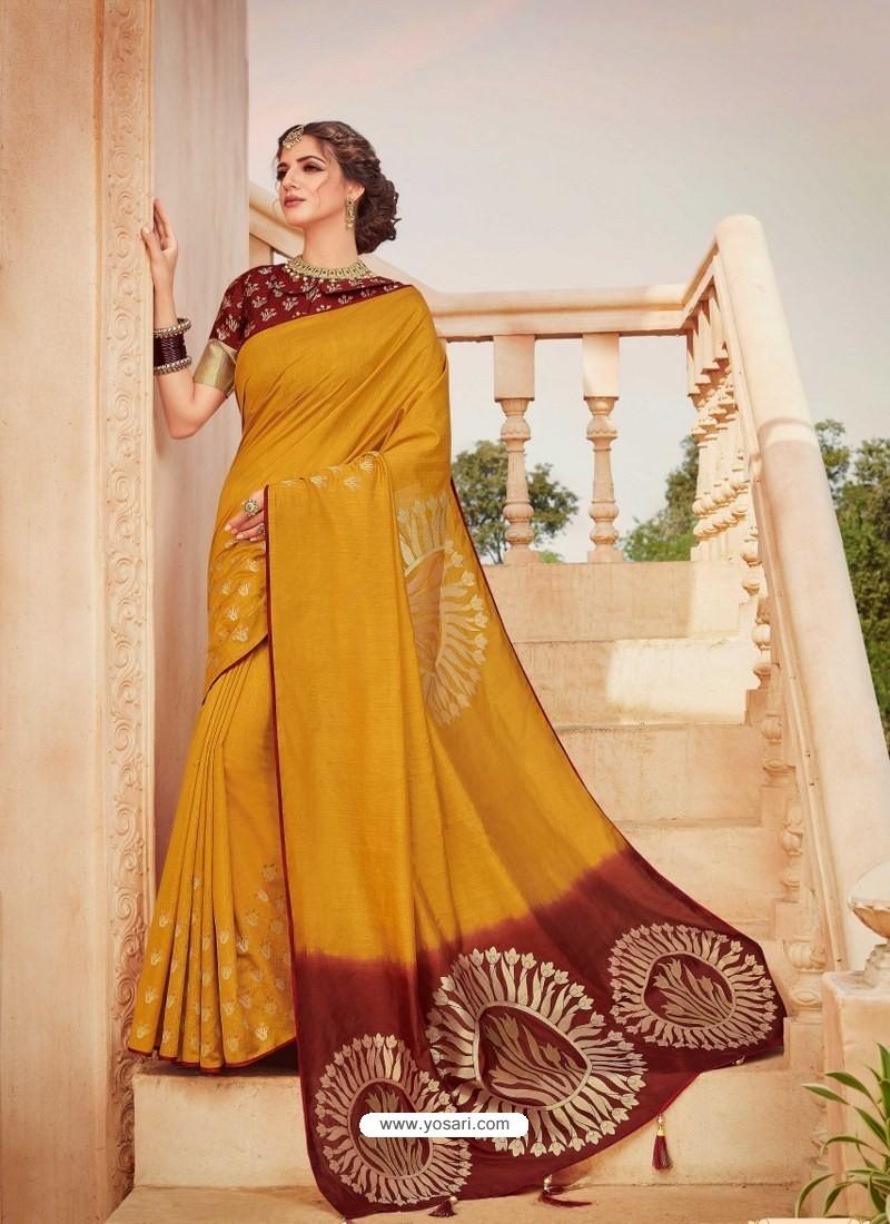 Yellow Mesmeric Designer Classic Wear Silk Sari