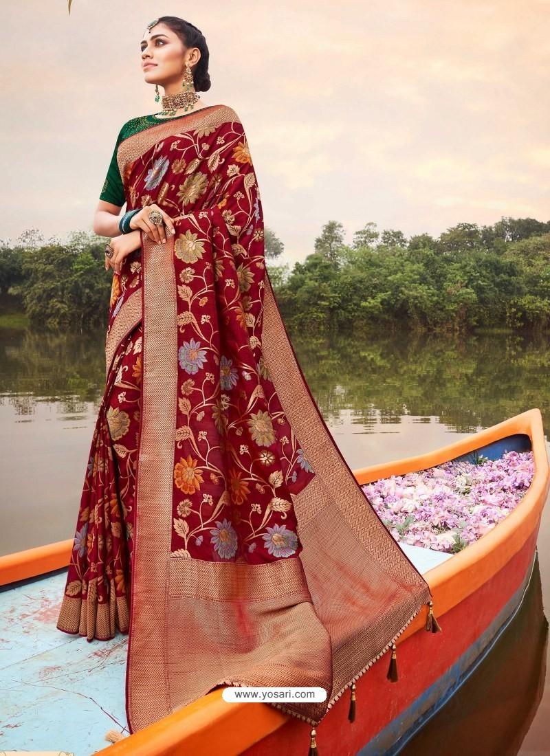 Maroon Mesmeric Designer Classic Wear Silk Sari