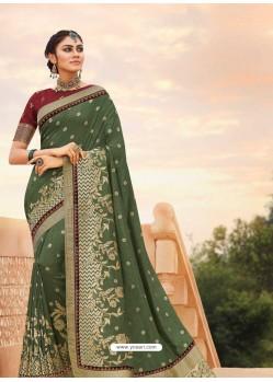 Mehendi Mesmeric Designer Classic Wear Silk Sari