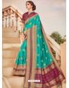 Aqua Mint Mesmeric Designer Classic Wear Silk Sari