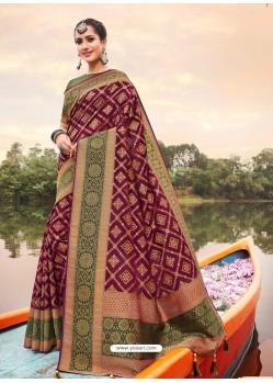 Deep Wine Mesmeric Designer Classic Wear Silk Sari