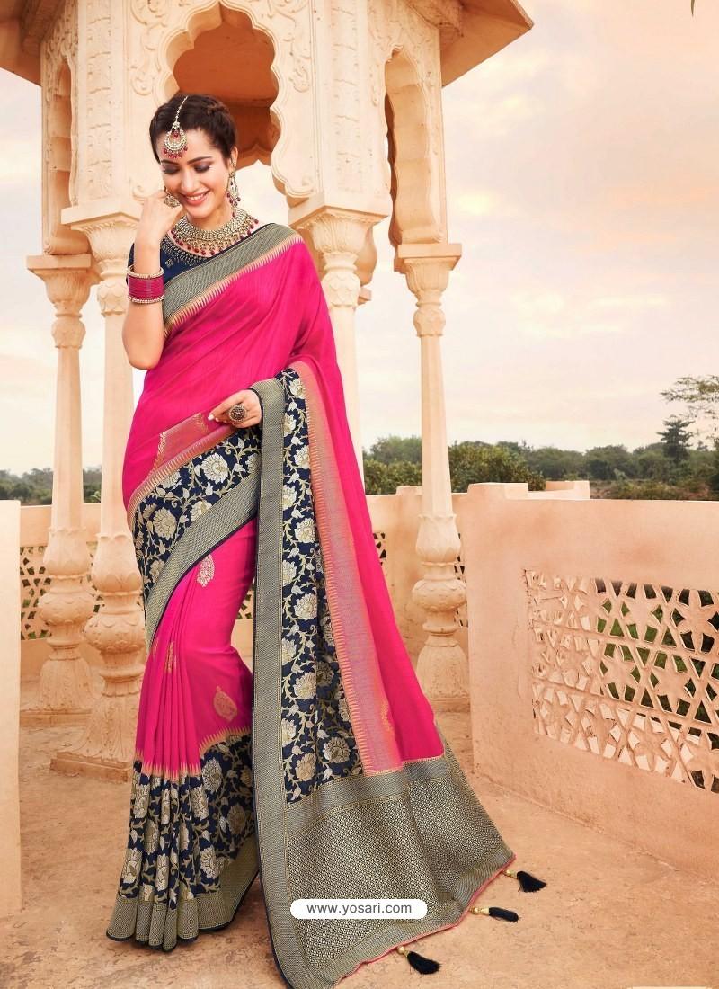 Fuchsia Mesmeric Designer Classic Wear Silk Sari
