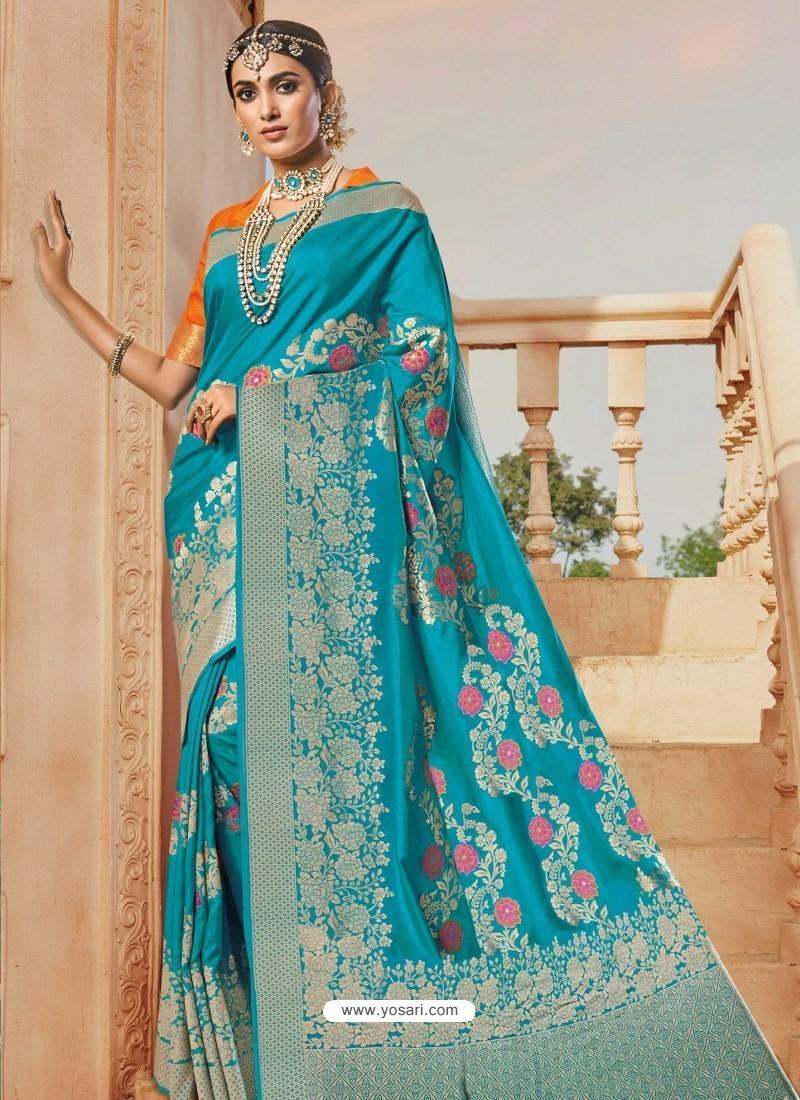 Blue Mesmeric Designer Classic Wear Silk Sari
