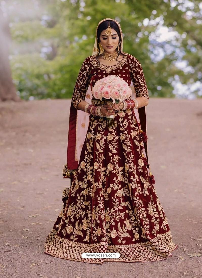 Maroon Gorgeous Designer Heavy Wedding Wear Lehenga