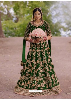 Forest Green Gorgeous Designer Heavy Wedding Wear Lehenga