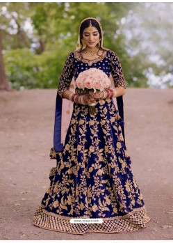 Royal Blue Gorgeous Designer Heavy Wedding Wear Lehenga