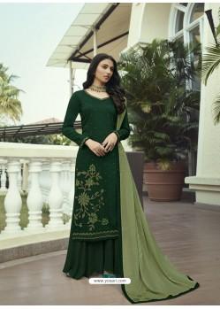 Dark Green Designer Party Wear Soft Silk Salwar Suit