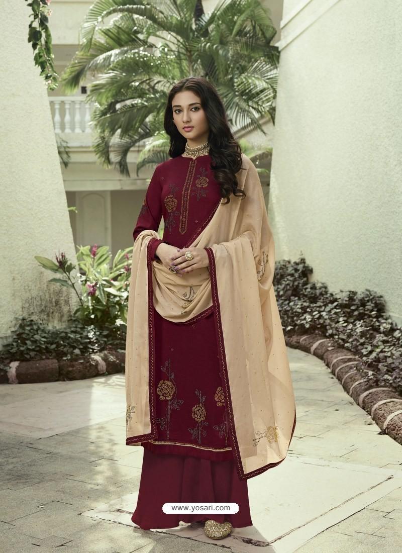 Maroon Designer Party Wear Soft Silk Salwar Suit