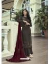 Coffee Designer Party Wear Soft Silk Salwar Suit