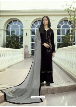 Black Designer Party Wear Soft Silk Salwar Suit