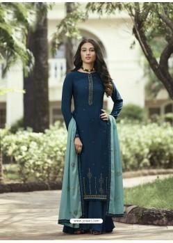 Teal Blue Designer Party Wear Soft Silk Salwar Suit