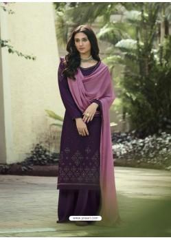 Purple Designer Party Wear Soft Silk Salwar Suit