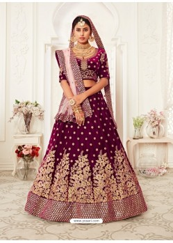 Deep Wine Gorgeous Designer Heavy Wedding Wear Lehenga