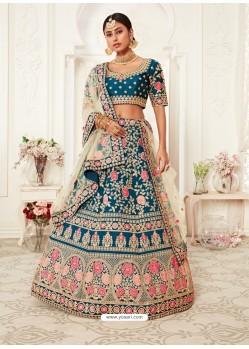 Teal Blue Gorgeous Designer Heavy Wedding Wear Lehenga