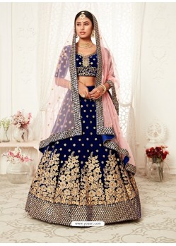 Dark Blue Gorgeous Designer Heavy Wedding Wear Lehenga
