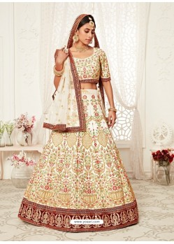 Off White Gorgeous Designer Heavy Wedding Wear Lehenga