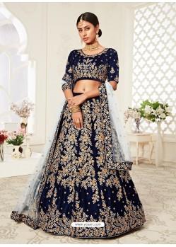 Navy Blue Gorgeous Designer Heavy Wedding Wear Lehenga