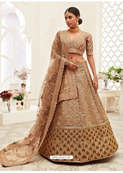 Beige Gorgeous Designer Heavy Wedding Wear Lehenga
