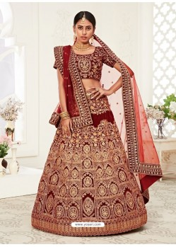 Red Gorgeous Designer Heavy Wedding Wear Lehenga