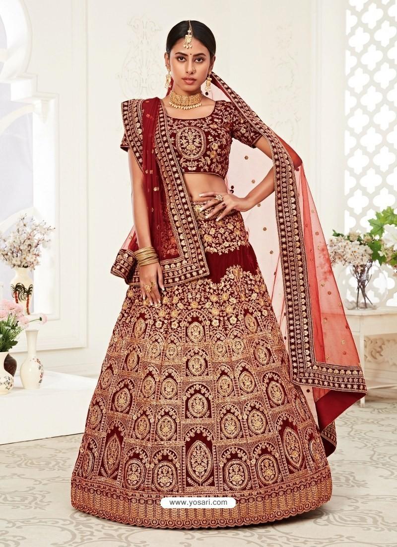 Red Gorgeous Designer Heavy Wedding Wear Lehenga