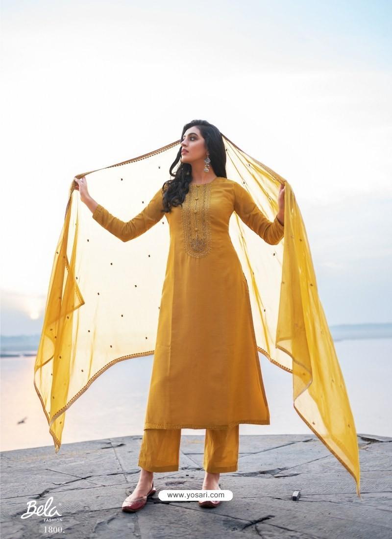 Mustard Designer Party Wear Cotton Silk Salwar Suit