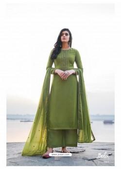 Green Designer Party Wear Cotton Silk Salwar Suit