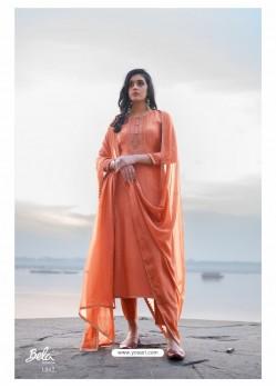 Light Orange Designer Party Wear Cotton Silk Salwar Suit