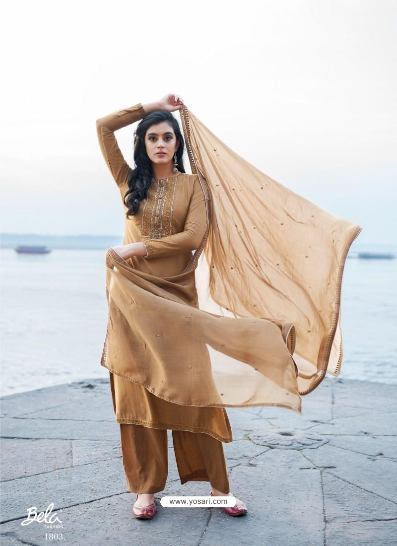 Camel Designer Party Wear Cotton Silk Salwar Suit
