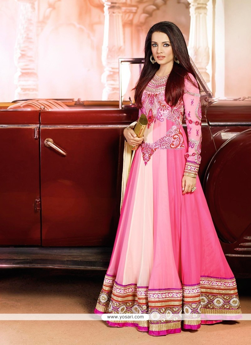 Celina Jaitly Pink Georgette Anarkali Suit