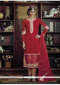 Picturesque Red Designer Suit