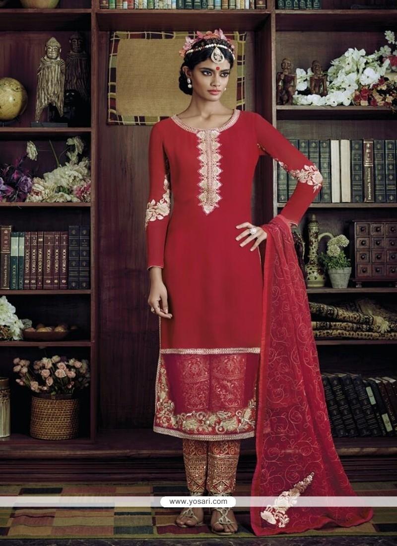 Picturesque Red Designer Suit