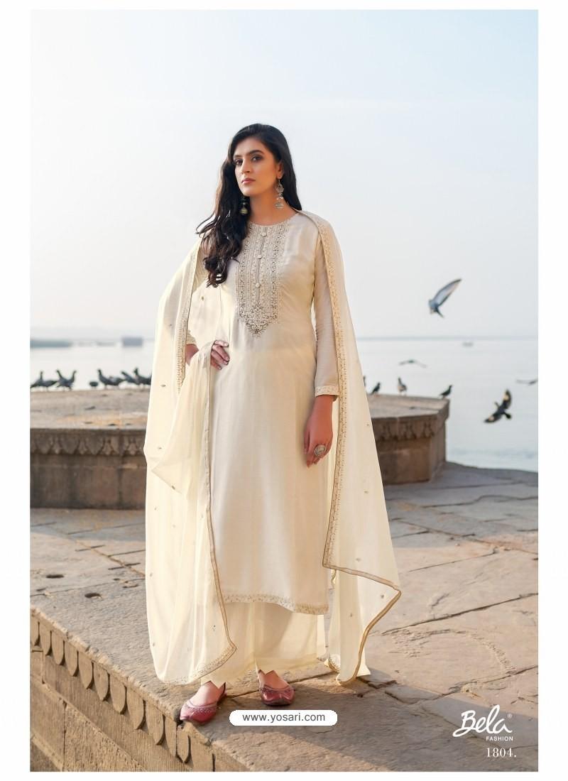 Off White Designer Party Wear Cotton Silk Salwar Suit