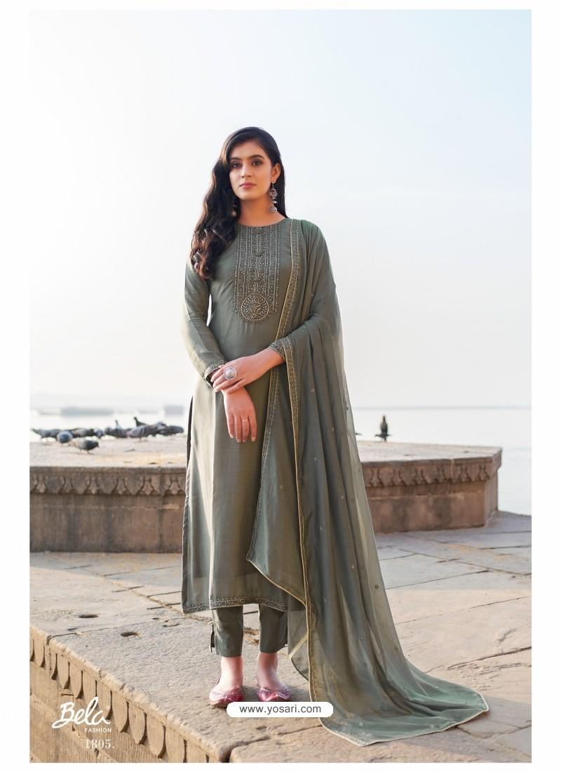 Grey Designer Party Wear Cotton Silk Salwar Suit