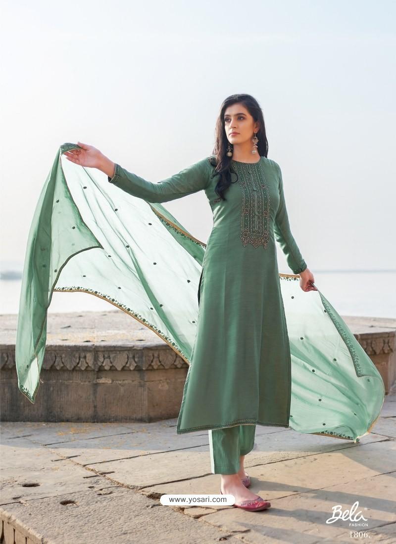 Grayish Green Designer Party Wear Cotton Silk Salwar Suit