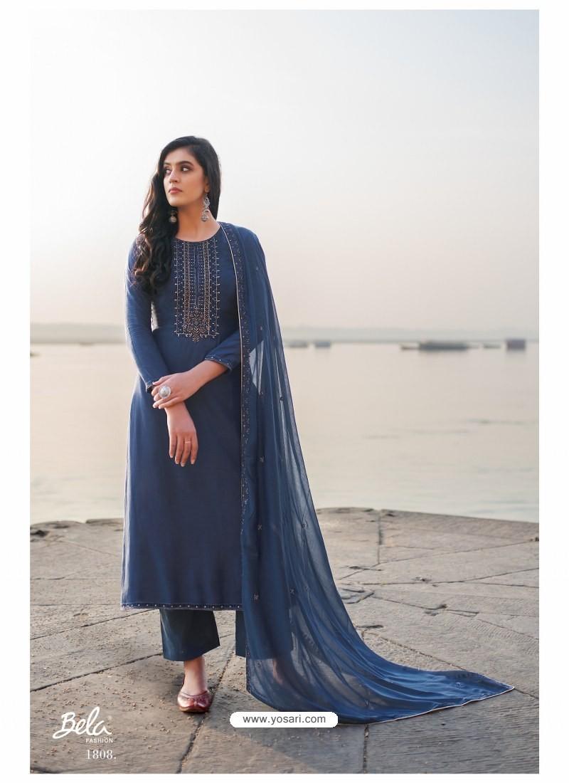 Navy Blue Designer Party Wear Cotton Silk Salwar Suit