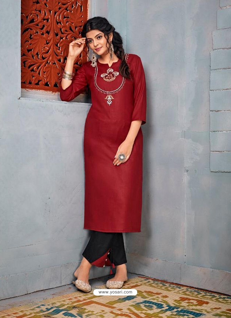 Red Latest Designer Party Wear Rayon Kurti With Bottom