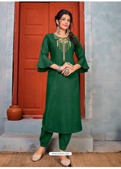 Dark Green Latest Designer Party Wear Rayon Kurti With Bottom
