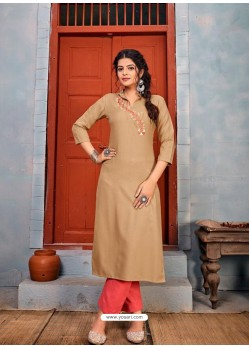 Beige Latest Designer Party Wear Rayon Kurti With Bottom