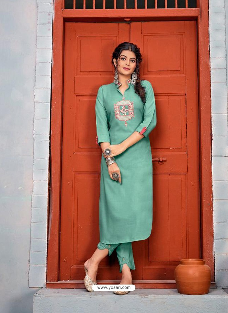 Aqua Mint Latest Designer Party Wear Rayon Kurti With Bottom