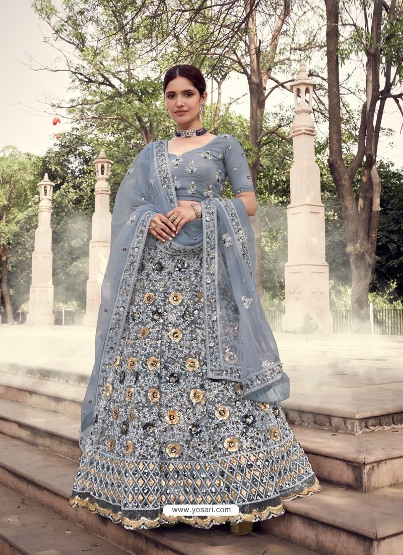 Grey Scintillating Designer Heavy Wedding Wear Lehenga