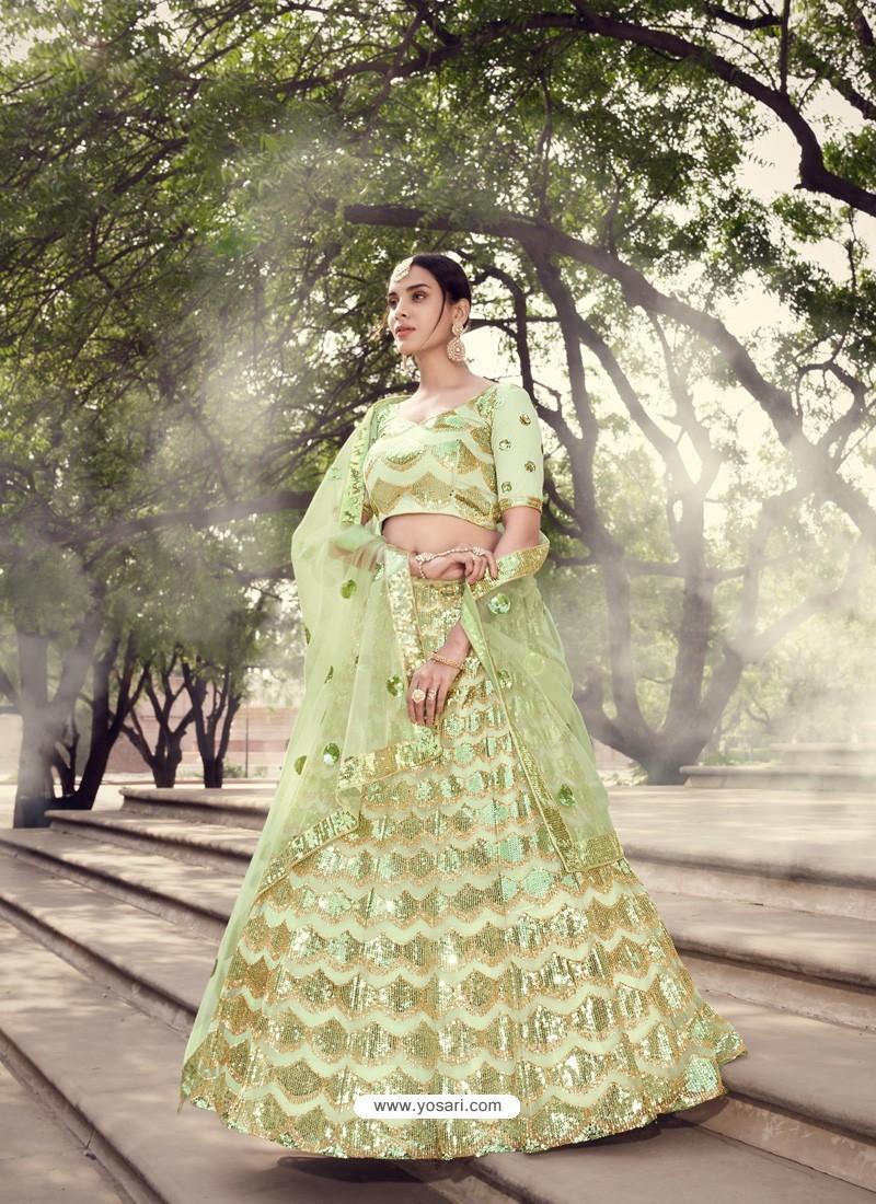 Green Scintillating Designer Heavy Wedding Wear Lehenga