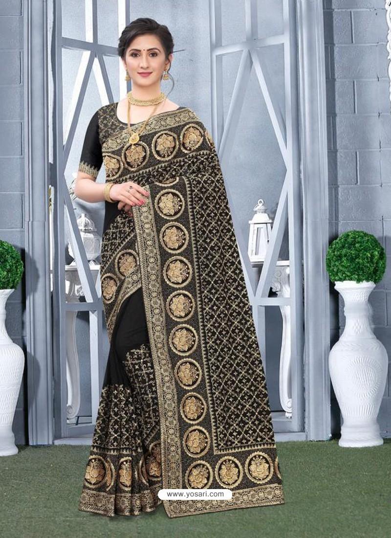 Black Mesmeric Designer Classic Wear Silk Sari