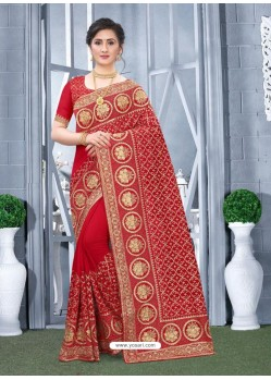 Red Mesmeric Designer Classic Wear Silk Sari
