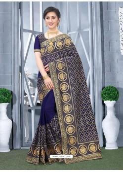 Dark Blue Mesmeric Designer Classic Wear Silk Sari