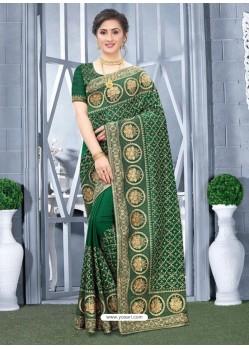 Forest Green Mesmeric Designer Classic Wear Silk Sari