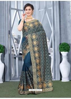 Teal Blue Mesmeric Designer Classic Wear Silk Sari