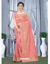 Light Red Mesmeric Designer Classic Wear Silk Sari