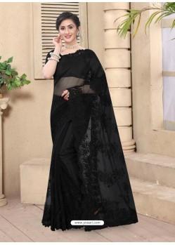 Black Mesmeric Designer Party Wear Net Sari