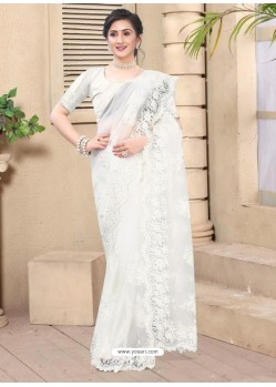 White Mesmeric Designer Party Wear Net Sari
